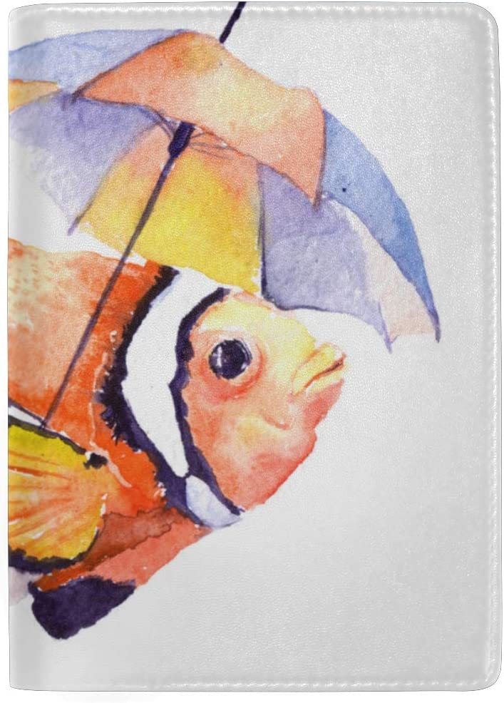 Passport Cover Clear Bright Clownfish And Seaweed Stylish Pu Leather Travel Accessories Cartoon Passport Cover For Women Men