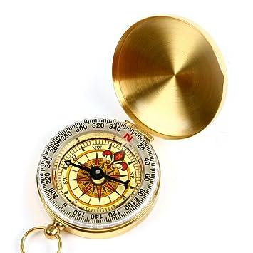 DLAND Portable Taschenuhr Flip-Open Kompass wasserdicht f/ür Camping Golden Military Kompass Gl/ühen im Dunkeln Wandern und andere Outdoor-Aktivit/äten.