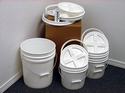 Camping Toilet Gamma : Amazon.com : bucket kit one 5 gallon white bucket & three 2 gallon