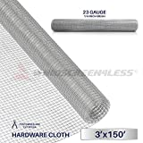 Windscreen4less 23 Gauge 1/4 Inch Square Galvanized Mesh Hardware Cloth 36-Inch Tall Custom Size Cut-to-length 3ft x 150ft