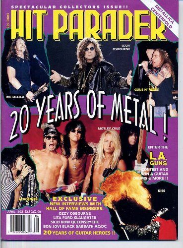 - Hit Parader Magazine 20 YEARS OF METAL + HUGE POSTER Kiss METALLICA Bon Jovi VAN HALEN Motley Crue GUNS N' ROSES April 1992 C (Hit Parader Magazine)