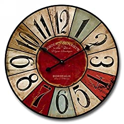 """Shabby Chic, Multi-Colored Decorative Wall Clock by Nora Lane, Handmade With Real Wood, Gender Neutral, Battery Operated - 1 AA Battery, 24""""x24""""x1.5"""""""