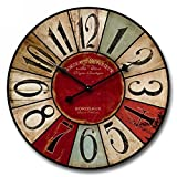 """Cheap Shabby Chic, Multi-Colored Decorative Wall Clock by Nora Lane, Handmade With Real Wood, Gender Neutral, Battery Operated – 1 AA Battery, 24""""x24""""x1.5"""""""