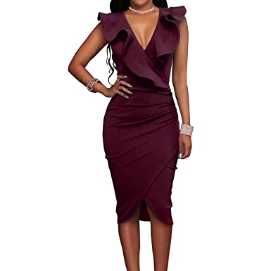 2018 Women Summer Dress Sexy Sleeveless V Neck Pencil Party Dresses Ladies Ruffles Bodycon Slim Midi Club Vestidos at Amazon Womens Clothing store:
