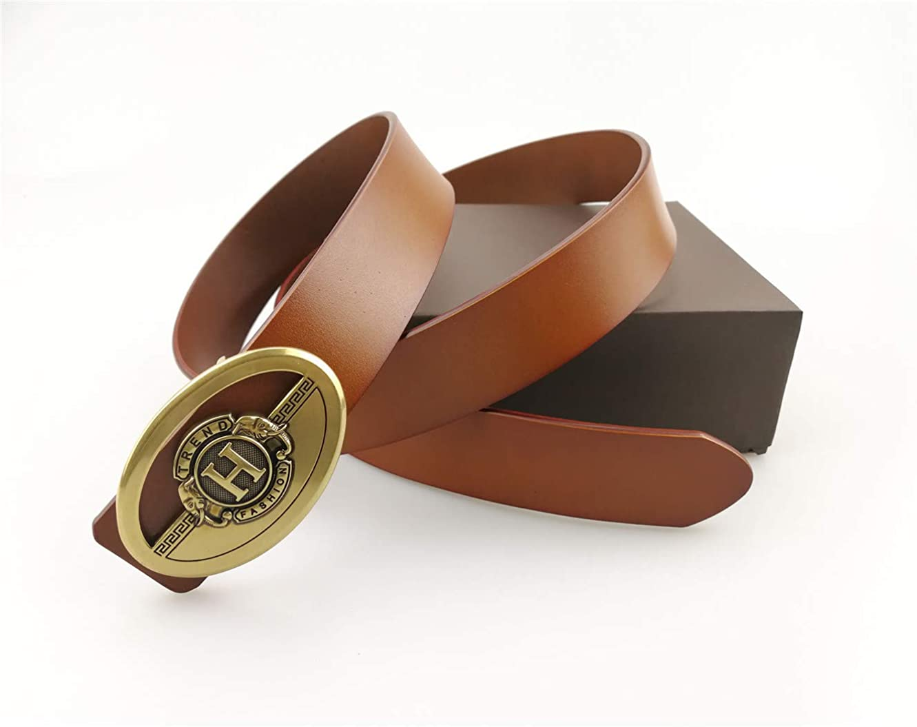 Leather belt mens new smooth buckle fashion