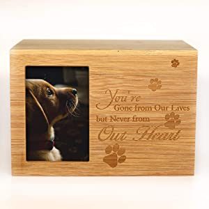 ENBOVE Cremation Urns for Ashes,Pet Memorial Keepsake Urns,Photo Box Pet Cremation Urn, Wood Keepsake Pet Urns for Dogs Ashes,Wooden Urn