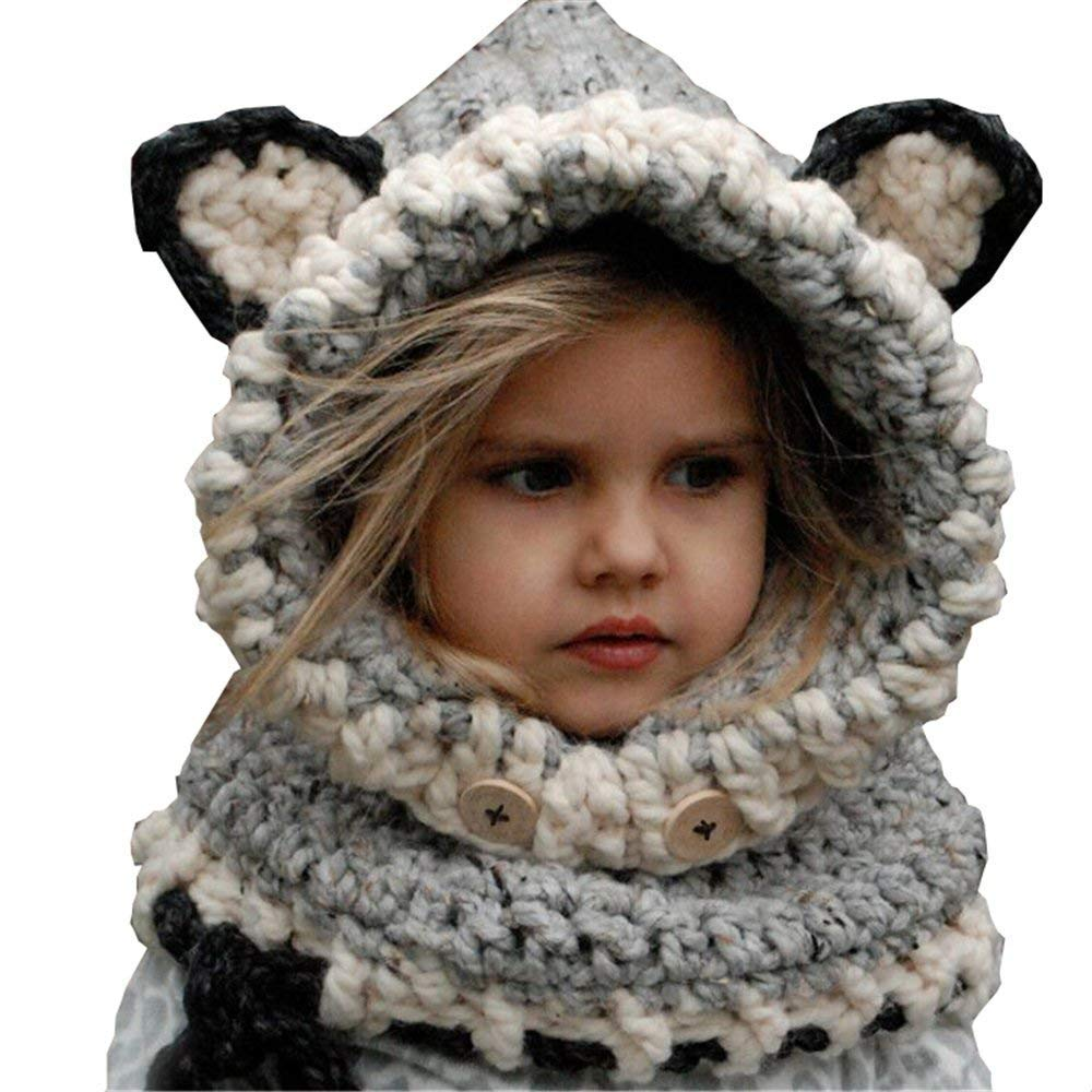 Yanekop Girl's Winter Animal Hats And Scarves Set Warm Hooded Scarf Best Gifts Yanekop 01-9170