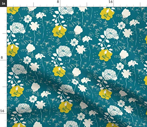 Peony Fabric - Chinoiserie Chic Blue Floral Teal Yellow White Garden Flower China Wild Flowers Print on Fabric by The Yard - Sport Lycra for Swimwear Performance Leggings Apparel Fashion