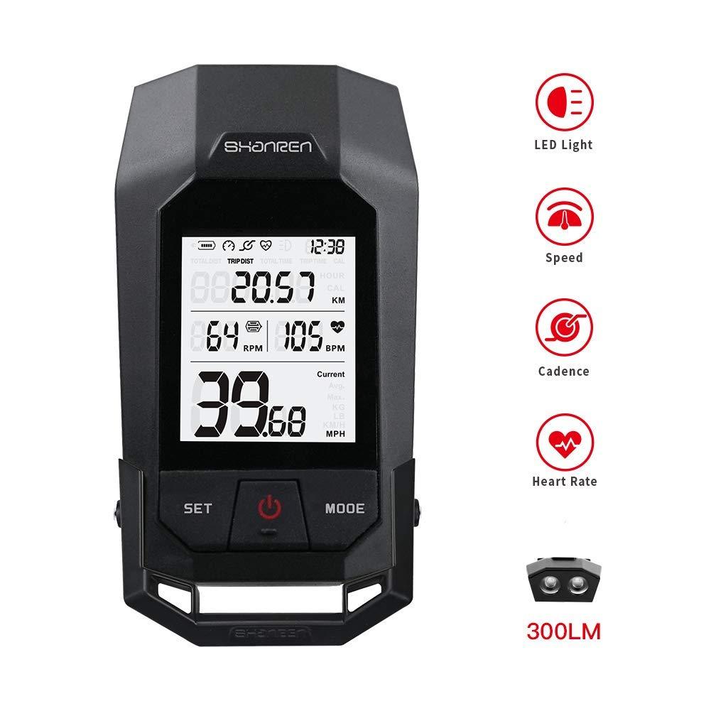 SHANREN Raptor II Pro Bluetooth Bike Computer, 300Lm Bike Light Version, 18 Functions with Heart Rate, Speed, Cadence Display by SHANREN