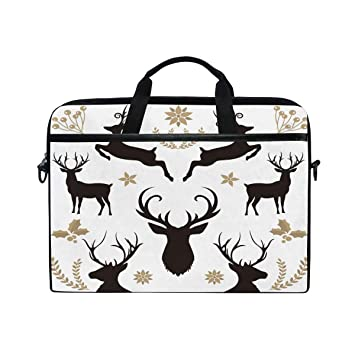 7f1b38c91bc Laptop Computer Bag Black Reindeer Plant Notebook Shoulder Messenger Cases  Packs for Women Men (15