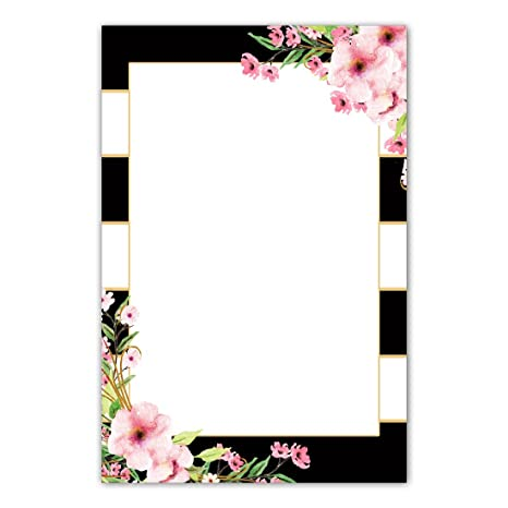 amazon com 30 blank invitations thank you cards black pink floral
