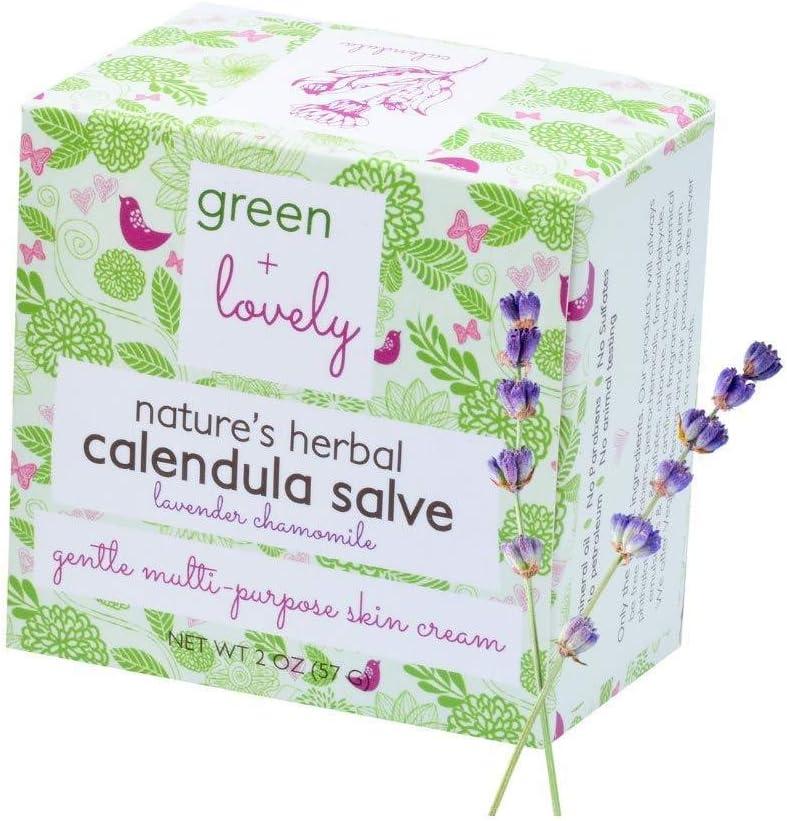 Nature's Herbal Calendula Salve (Lavender Chamomile), Eczema Cream, Eczema Ointment, Intensive Moisturizer for Sensitive Skin, Green + Lovely - 2 oz