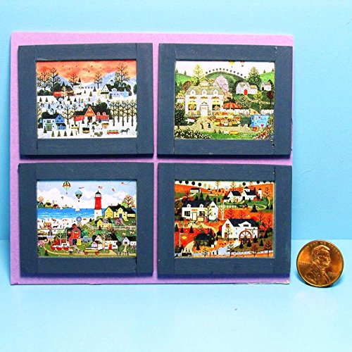 Dollhouse Miniature Set of Folk Art Town of Seasons Pictures in Frames PB - My Mini Fairy Garden Dollhouse Accessories for Outdoor or House Decor (Village Set Small)
