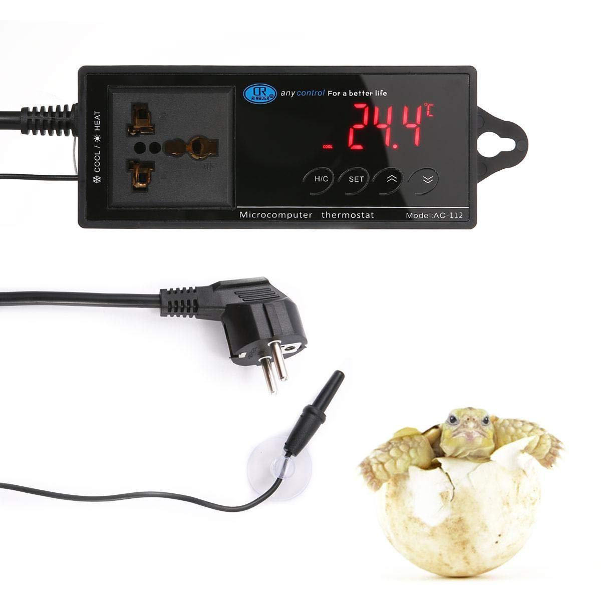 AUOKER Relés Control de Termostato Digital Electrónico Termostato Led Digital Monitor Cría Temperatura Controlador Par Termoeléctrico con Enchufe,-40~212 ...