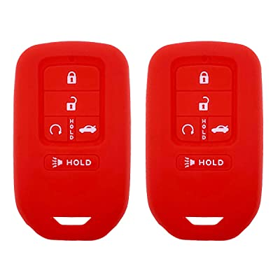 Henzxi Silicone Key Fob Cover Case Keyless Remote Skin Jacket Holder Full Protector 2 Pack for A2C81642600 2020 2020 2016 2015 Honda Accord Civic CR-V Pilot EX EX-L Touring Premium (Red: Car Electronics