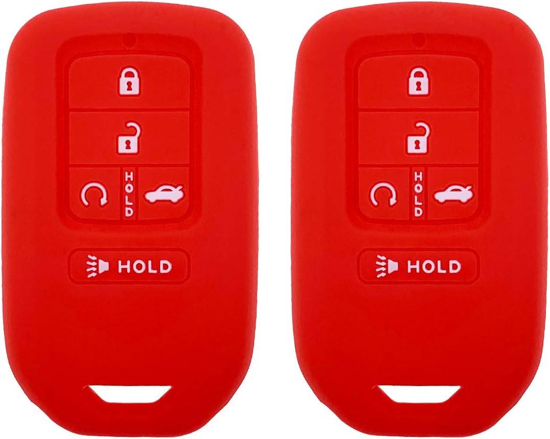 Black + Orange Henzxi Silicone Key Fob Cover Case Keyless Remote Skin Jacket Holder Full Protector 2 Pack for A2C81642600 2018 2017 2016 2019 Honda Accord Civic CR-V Pilot EX EX-L Touring Premium