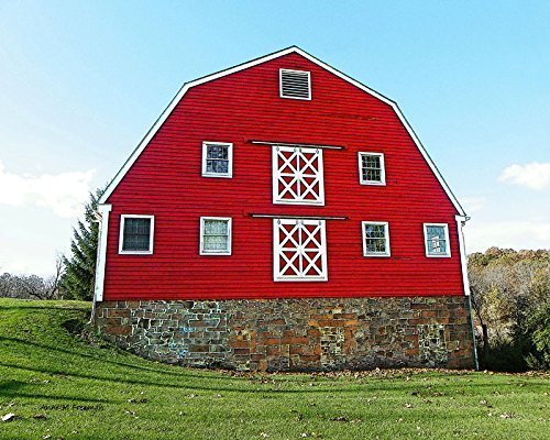 Big Red Dairy Barn. A fine art photograph of a pretty red dairy barn with a Gambrel roof. Wonderful double-X brace (Freeman Brace)