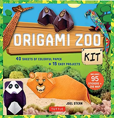 Origami Zoo Kit: [Origami Kit with Book, 40 Papers, 95 Stickers, Zoo Map]