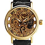 Sanwood Russian Skeleton Automatic Watches for Men Black Synthetic Leather Wrist Watch