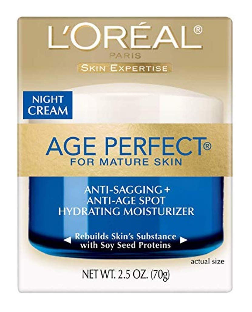 L'Oreal Paris Skin Care Age Perfect Night Cream, Anti-Aging Face Moisturizer With Soy Seed Proteins, 2.5 Oz