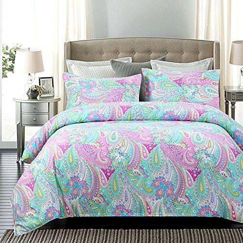 Juwenin Home Bedding Pink Girls Comforter Set with 2 Pillow sham 100% Cotton (CMF-hfjr, Queen) (Pottery Barn Kids Sheets Queen)