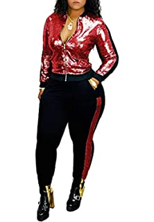 OLUOLIN Women Sparkly Sequins 2 Piece Outfits Long Sleeve Zipper Tracksuits Jackets and Skinny Long Pants Set