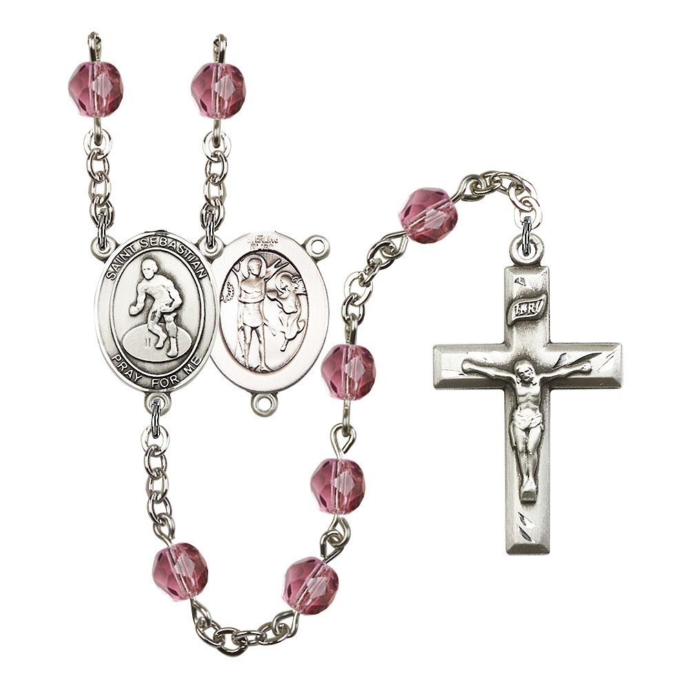 St. Sebastian / Wrestling Silver-Plated Rosary 6mm February Purple Fire Polished Beads Crucifix Size 1 3/8 x 3/4 medal charm by Bonyak Jewelry