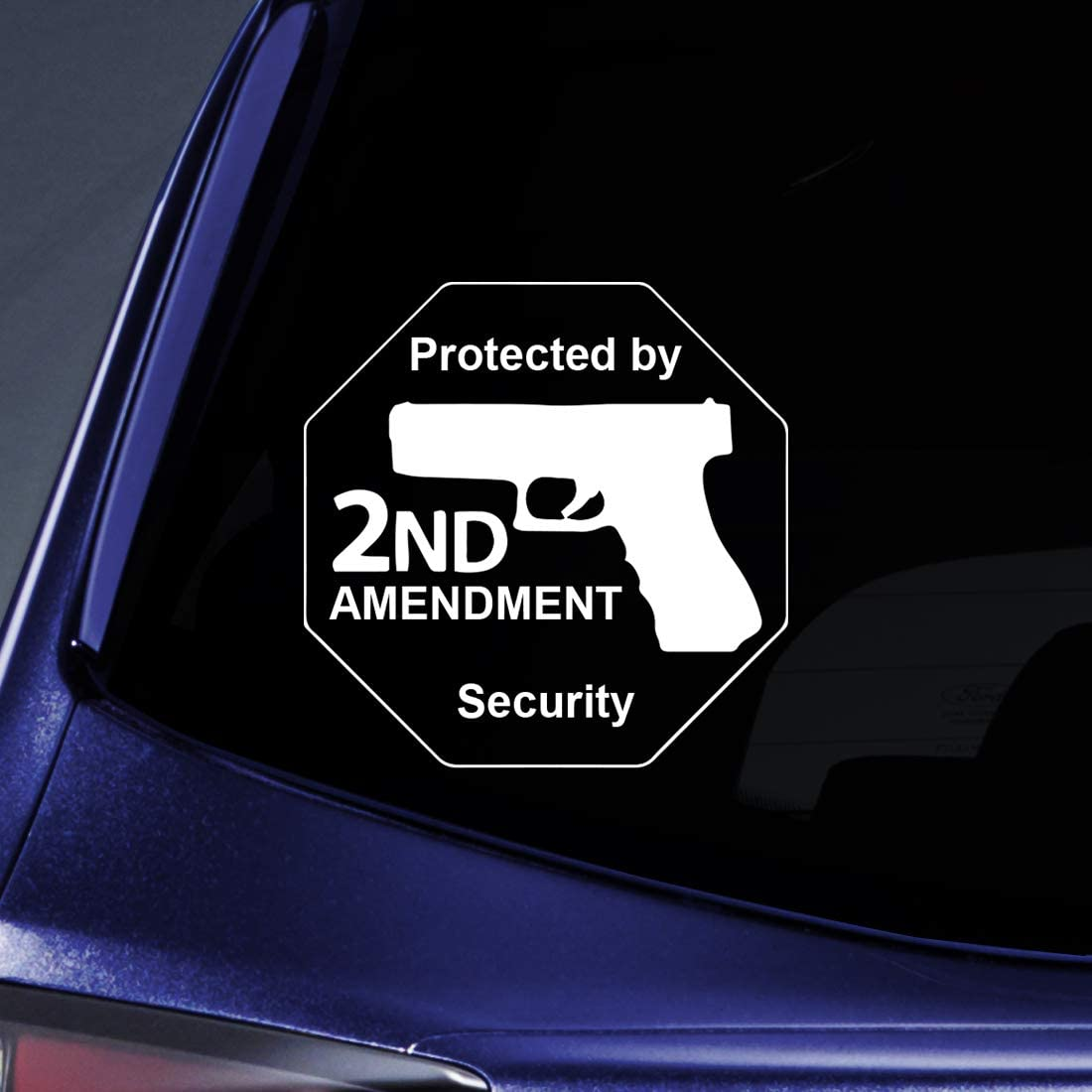 "Bargain Max Decals - Protected by 2nd Amendment Security Gun Sticker Decal Notebook Car Laptop 6"" (White)"