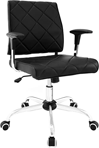 Modway Lattice Modern Faux Leather Mid Back Computer Desk Office Chair In Black