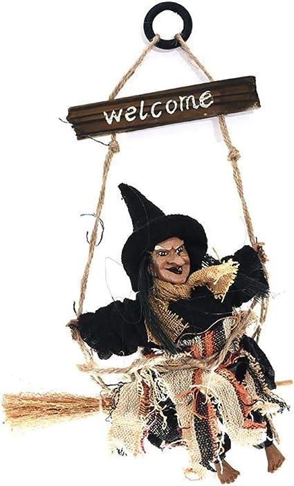 Halloween Deko zum Aufh/ängen Geist Dekorationen H/änge Deko Hexe auf fliegendem Besen Gelb Unisex