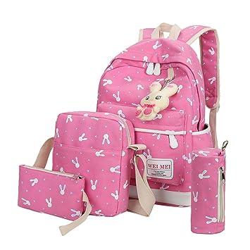 Bolso, Manadlian 4 juegos Mujer Niña Bolso Animales de Conejo Mochila de viaje Bolsa para la escuela Bolsa de hombro (Backpack:27*42*5cm, ...