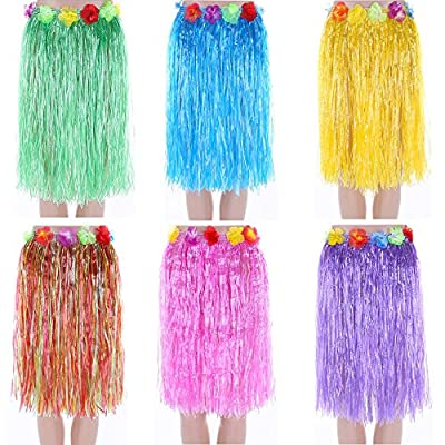 "NEWCREATIVETOP 24"" Adult's Flowered Luau Hula Skirts Pack of 6,Assorted Colors"