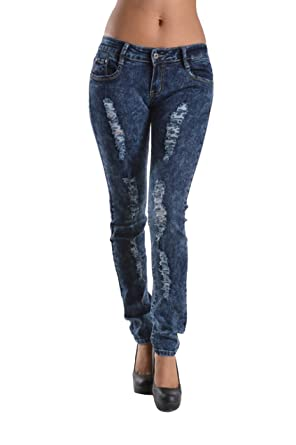 3a55fcf3b0c4 2LUV Women's Mid-Rise Distressed Skinny Jeans Acid Wash 1 (W3002) at Amazon  Women's Jeans store