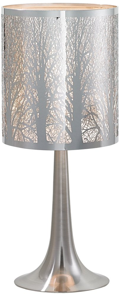 "Light Blaster Modern Accent Table Lamp 19"" High Chrome Solid Metal Laser Cut Tree Branch Pattern Shade for Bedroom Bedside - Possini Euro Design - Overall: 19"" high. Base is 6 3/4"" wide. Drum shade is 8"" wide x 9"" high. Takes one maximum 60 watt standard base bulb (not included). On-off in-line switch. Small accent table lamp size, from the Possini Euro Design® brand. - lamps, bedroom-decor, bedroom - 61oI4FYWgXL -"