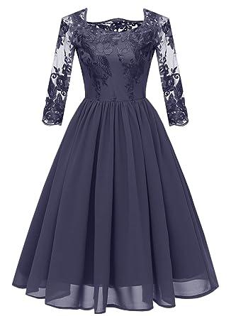 823a3a46c8be7 KELUOSI Slim Dentelle Florale Midi-Longue Robe de Soirée Femme Robe  Cocktail Mariage: Amazon.fr: Vêtements et accessoires