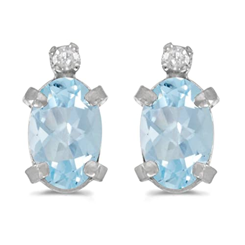 Sterling Silver Oval Aquamarine and Diamond Earrings