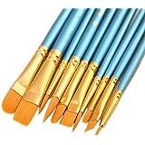 人工毛 絵筆10本入り1セット、ブルー、アクリル画、油絵、水彩画用