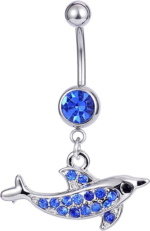Many Colors Bazooky Enchanting Heart Dolphin Belly Button Ring