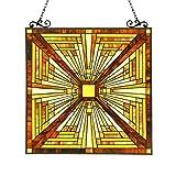 Chloe Lighting Innes Tiffany-Glass Mission Window Panel 24.5×26 For Sale