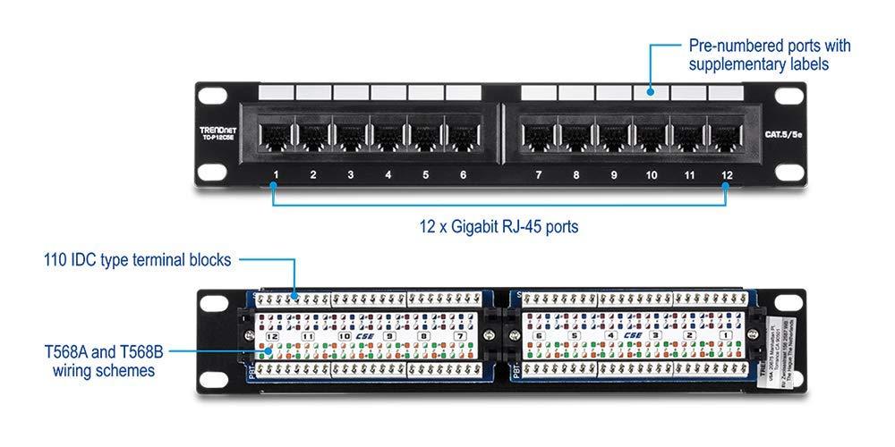 12 x Gigabit RJ-45 Ethernet Ports TRENDnet 12-Port Cat5//5e Unshielded Wallmount or Rackmount Patch Panel TC-P12C5E 10 Inch Wide