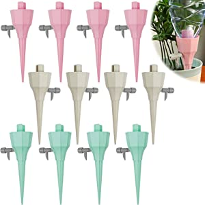 Hangnuo 12 Pcs Automatic Plant Watering Spikes, Auto Drippers Irrigation Devices Vacation Automatic Plants Water System for Vacation to Care Your Home Plants, Flower beds, Vegetable Gardens, Lawn
