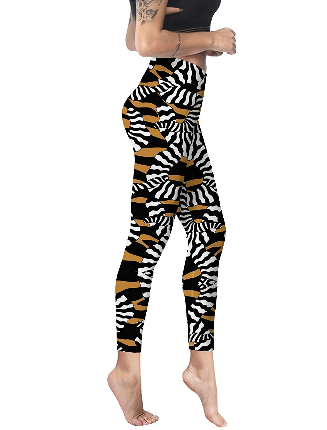 Women Stretch High Waist Yoga Pants Running Tights Animal Tiger Capris Compression Workout Leggings