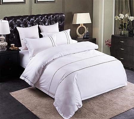Juego de ropa de cama de hotel de algodón puro de color sólido, 4 ...