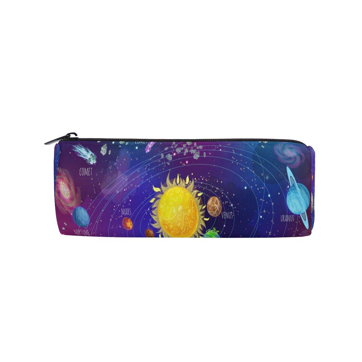 ShineSnow Cartoon Solar System Scientific Pencil Pen Bag Case, Galaxy Sun Moon Earth Student Office College Middle School High School Large Storage Pouch Holder Box Organizer