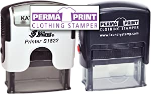 PermaPRINT Dual Clothing Stamper (1 Black Ink Stamp, 1 White Ink Stamp) Includes Free StampDARK Tool