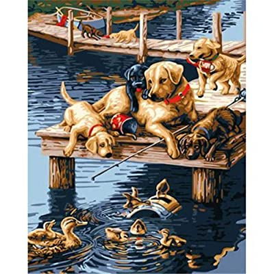 Paint by Numbers Kits DIY Oil Painting Home Decor Wall Value Gift-Puppies and Ducks 16X20 Inch (No Frame): Toys & Games
