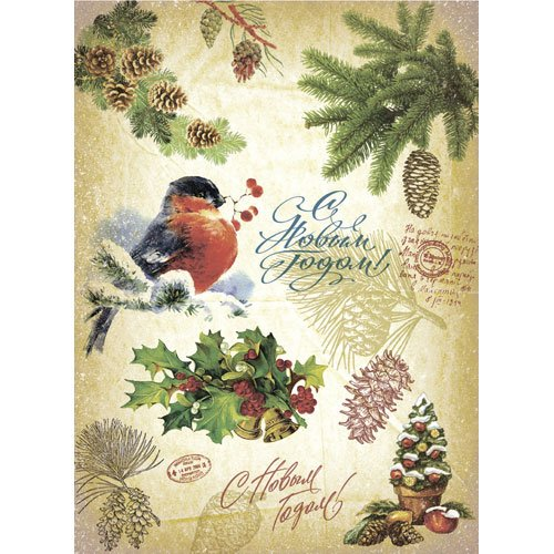 Rice paper for decoupage. Russian New Year (Christmas) card. Bullfinch. Made in Russia (~ 11.75 x 16 inches) Craft Premier