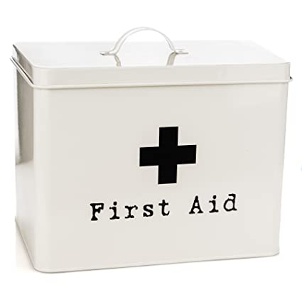 Harbour Housewares First Aid Medicine Storage Box In Vintage Metal   Cream