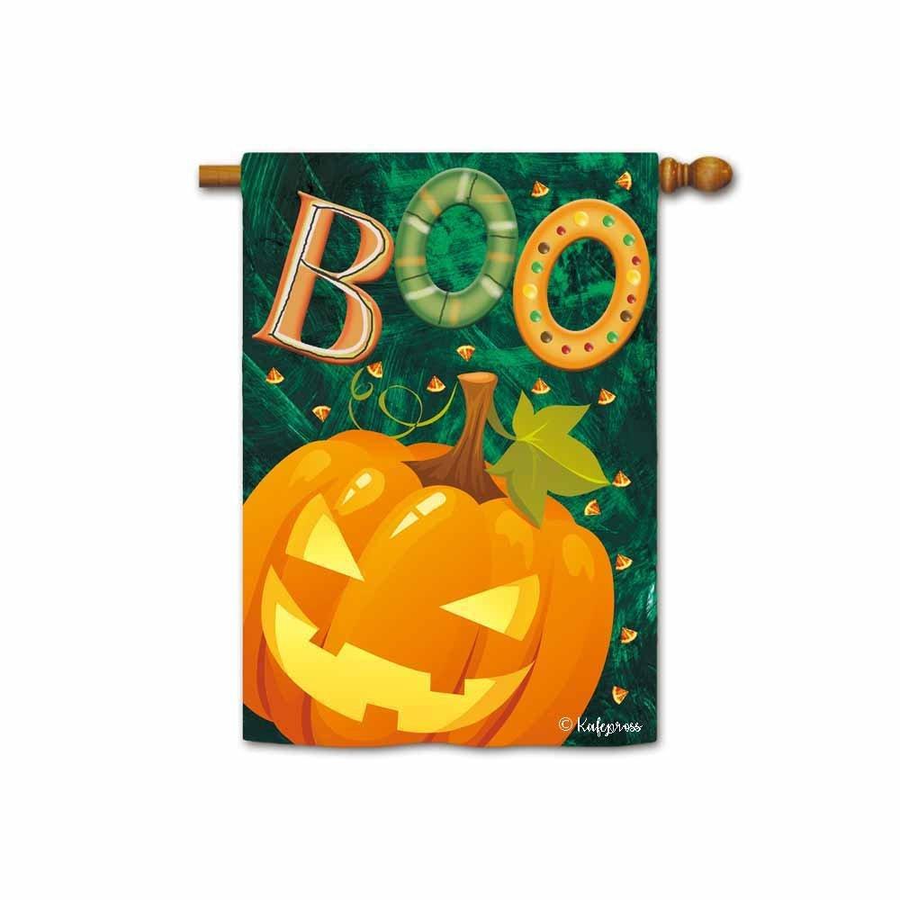 Kafepross Boo Jack O Lantern Halloween Decorative House Flag Pumpkin Light Home Decor Banner for inside and outside 28''X40'' Print Both Sides
