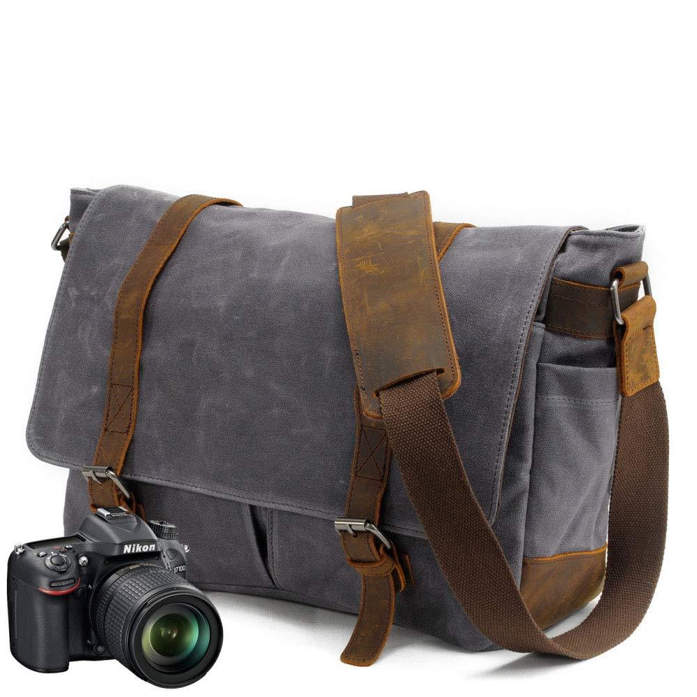 メンズカジュアルショルダーバッグ カメラバッグ バティックキャンバス クレイジーホースレザーバッグ付き 防水SLRカメラバッグ(色:グレー、サイズ:381228cm)   B07Q73STXF